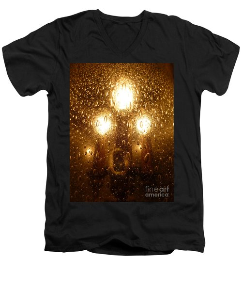 Macro Lights Men's V-Neck T-Shirt by Joseph Baril