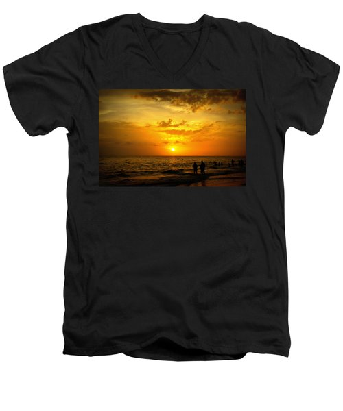 Men's V-Neck T-Shirt featuring the photograph Madeira Sunset by Laurie Perry
