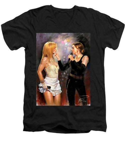 Madonna And Britney Spears  Men's V-Neck T-Shirt