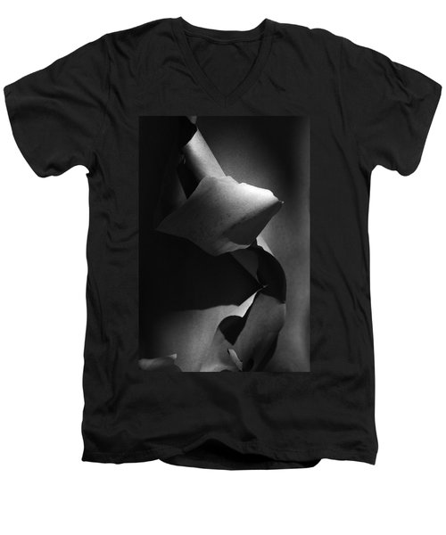 Madrona Bark Black And White Men's V-Neck T-Shirt by Yulia Kazansky