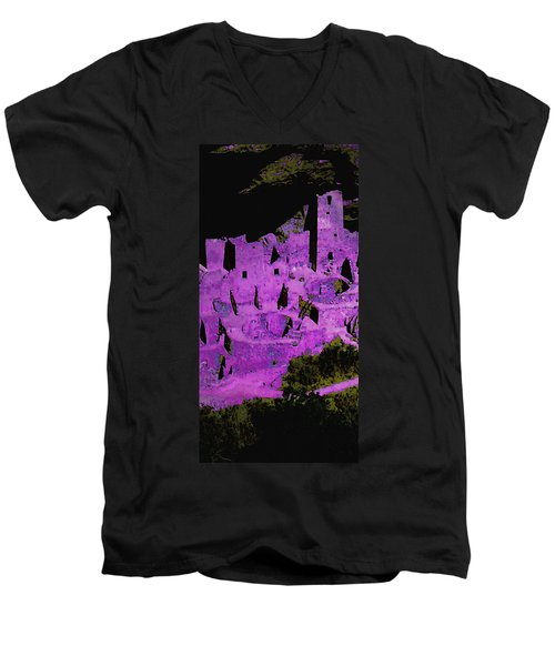Magenta Dwelling Men's V-Neck T-Shirt by David Hansen