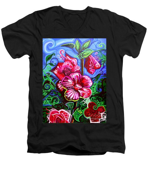 Magenta Fleur Symphonic Zoo I Men's V-Neck T-Shirt