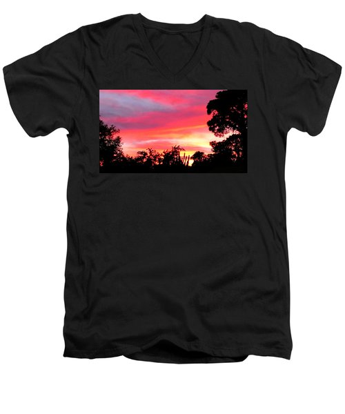 Men's V-Neck T-Shirt featuring the photograph Magenta Sunset by DigiArt Diaries by Vicky B Fuller
