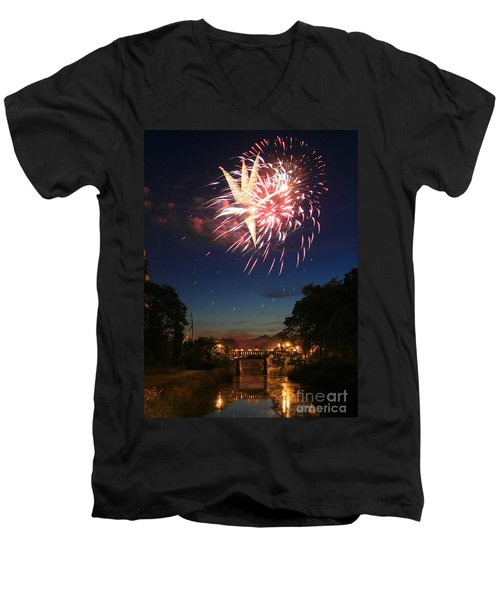 Men's V-Neck T-Shirt featuring the photograph Magic In The Sky by Paula Guttilla