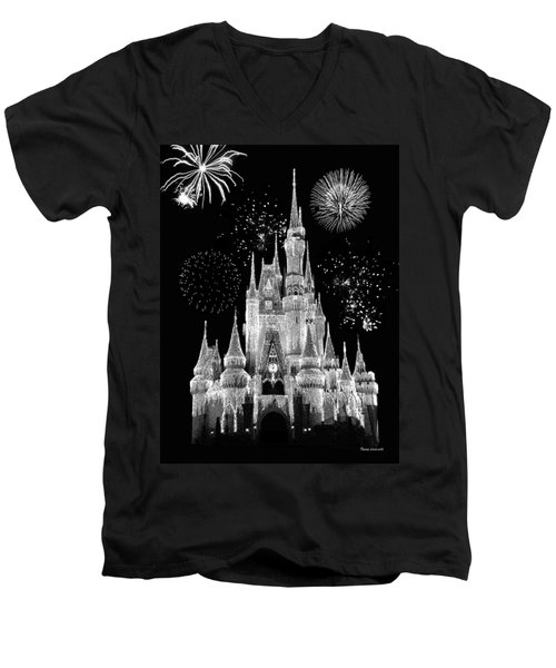 Magic Kingdom Castle In Black And White With Fireworks Walt Disney World Men's V-Neck T-Shirt by Thomas Woolworth