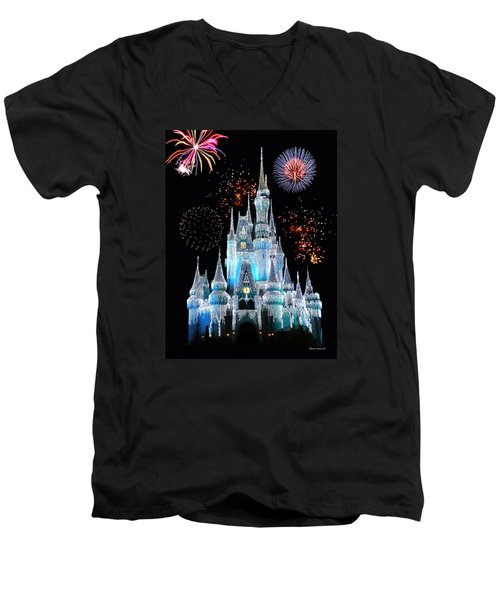 Magic Kingdom Castle In Frosty Light Blue With Fireworks 06 Men's V-Neck T-Shirt by Thomas Woolworth