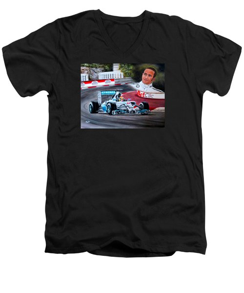 Magic Of Monaco-lewis Hamilton Men's V-Neck T-Shirt