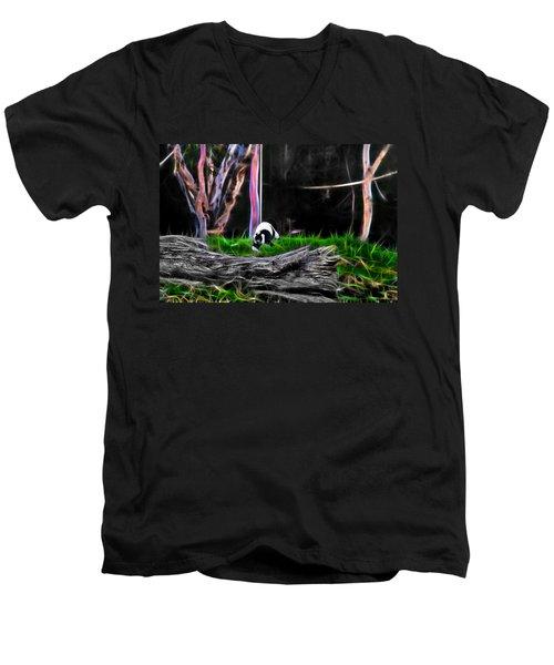 Walk In Magical Land Of The Black And White Ruffed Lemur Men's V-Neck T-Shirt