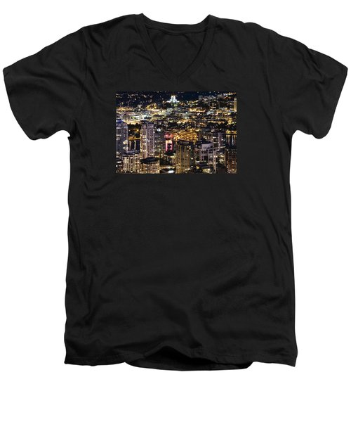 Men's V-Neck T-Shirt featuring the photograph Magical Yaletown Harbor Mdxlix by Amyn Nasser