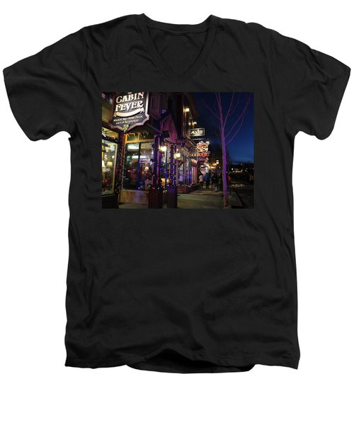 Main Street Breckenridge Colorado Men's V-Neck T-Shirt