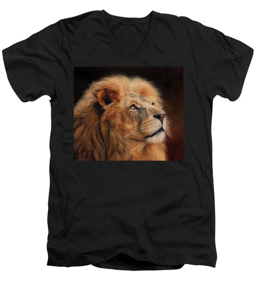 Majestic Lion Men's V-Neck T-Shirt by David Stribbling