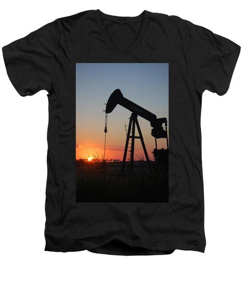 Making Tea At Sunset Men's V-Neck T-Shirt by Leticia Latocki