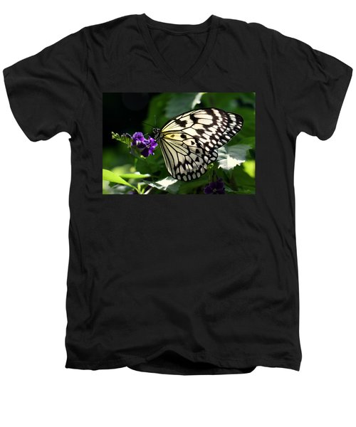Men's V-Neck T-Shirt featuring the photograph Malabar Tree Nymph  by Suzanne Stout