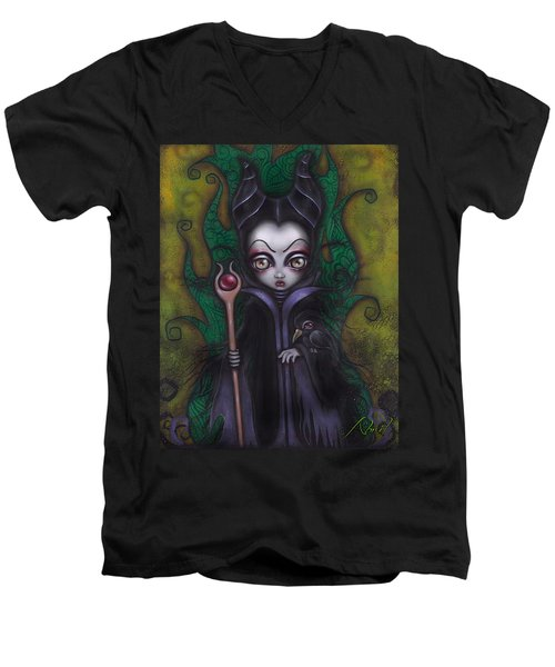 Maleficent  Men's V-Neck T-Shirt by Abril Andrade Griffith