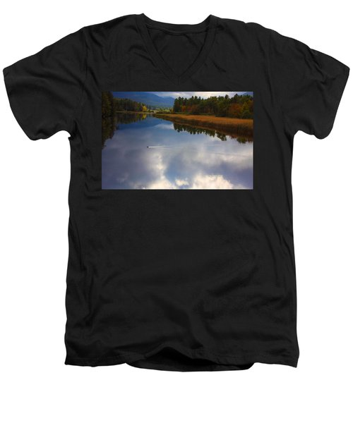 Men's V-Neck T-Shirt featuring the photograph Mallard Duck On Lake In Adirondack Mountains In Autumn by Jerry Cowart