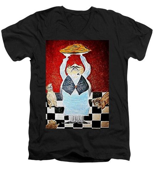 Mamas Pizza Man Men's V-Neck T-Shirt