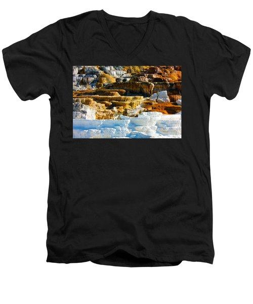 Mammoth Hot Springs Rock Formation No1 Men's V-Neck T-Shirt