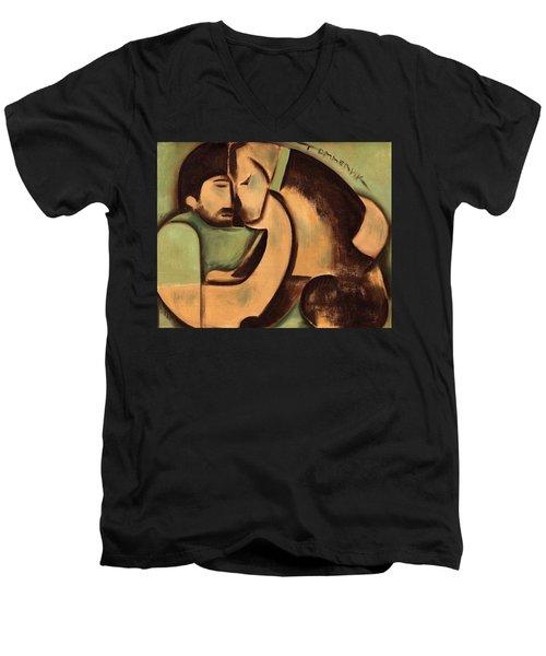 Tommervik Man And Dog Art Print Men's V-Neck T-Shirt
