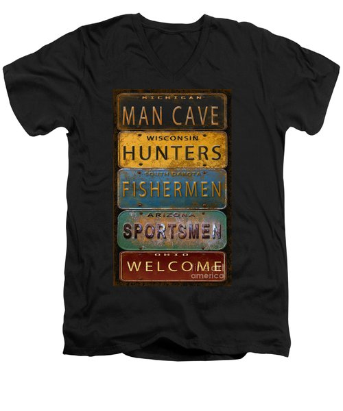 Man Cave-license Plate Art Men's V-Neck T-Shirt