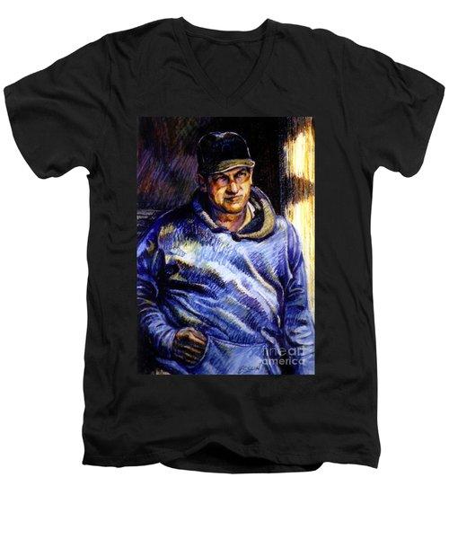 Man In Barn Men's V-Neck T-Shirt