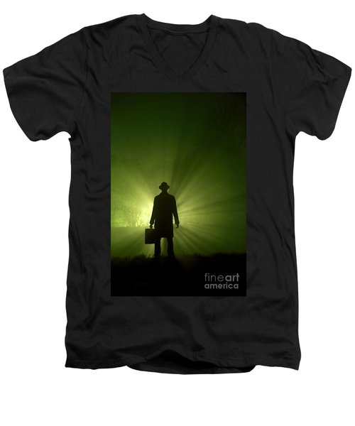 Men's V-Neck T-Shirt featuring the photograph Man In Light Beams by Lee Avison