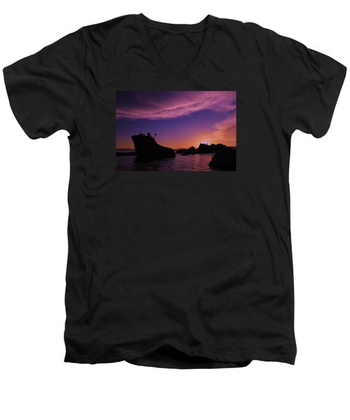 Men's V-Neck T-Shirt featuring the photograph Man In Sun At Bonsai Rock by Sean Sarsfield