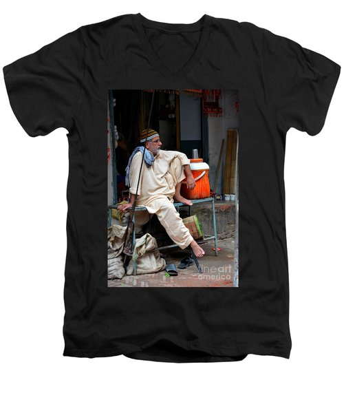 Man Sits And Relaxes In Lahore Walled City Pakistan Men's V-Neck T-Shirt