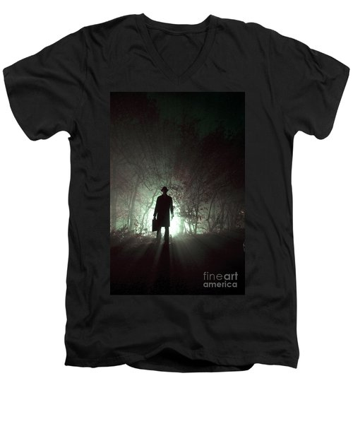 Men's V-Neck T-Shirt featuring the photograph Man Waiting In Fog With Case by Lee Avison