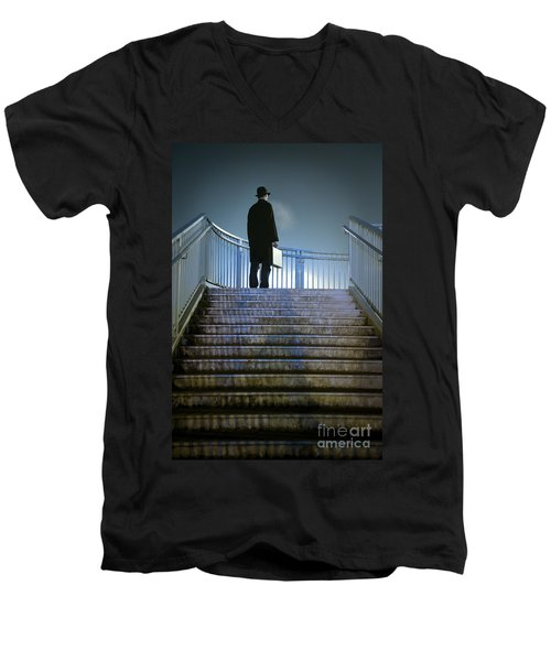 Men's V-Neck T-Shirt featuring the photograph Man With Case At Night On Stairs by Lee Avison