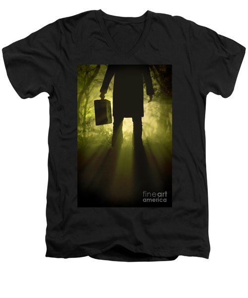 Men's V-Neck T-Shirt featuring the photograph Man With Case In Fog by Lee Avison