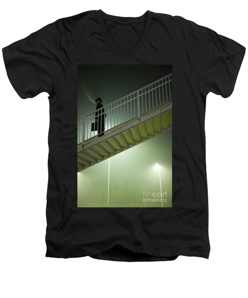 Men's V-Neck T-Shirt featuring the photograph Man With Case On Steps Nighttime by Lee Avison