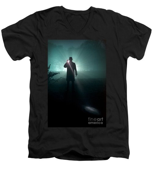 Men's V-Neck T-Shirt featuring the photograph Man With Flashlight  by Lee Avison