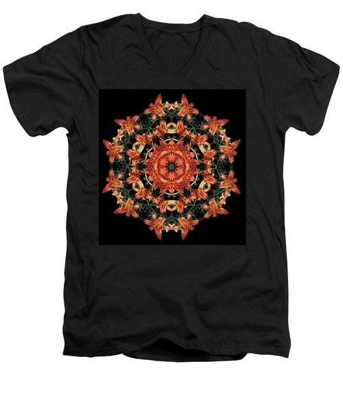 Men's V-Neck T-Shirt featuring the photograph Mandala Daylily by Nancy Griswold