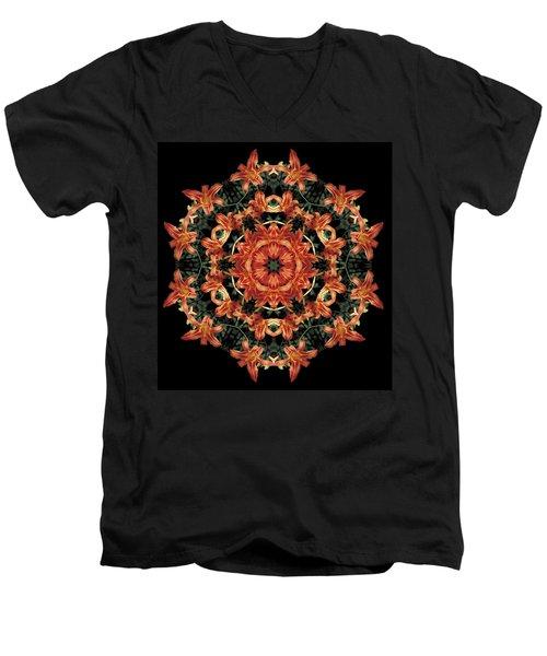 Mandala Daylily Men's V-Neck T-Shirt