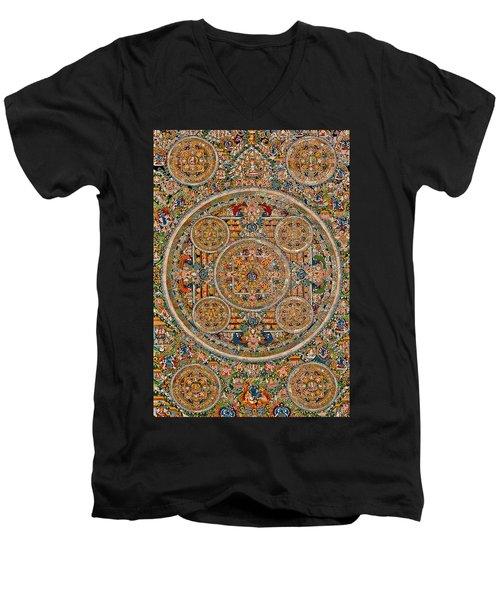 Mandala Of Heruka In Yab Yum And Buddhas Men's V-Neck T-Shirt by Lanjee Chee