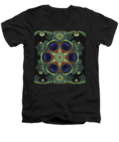 Men's V-Neck T-Shirt featuring the digital art Mandala Peacock  by Nancy Griswold