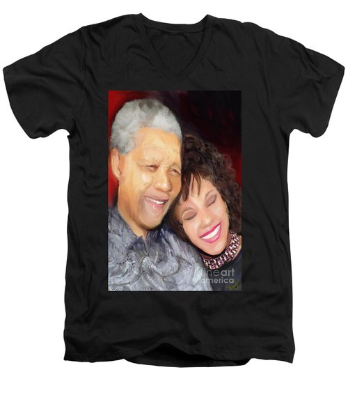 Men's V-Neck T-Shirt featuring the painting Mandela And Whitney by Vannetta Ferguson