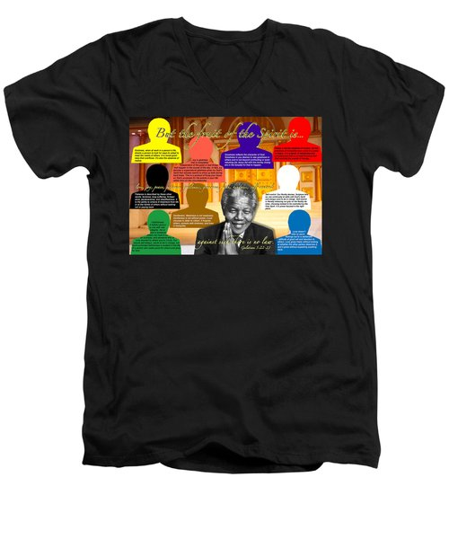 Mandela's Rainbow With Scripture Men's V-Neck T-Shirt