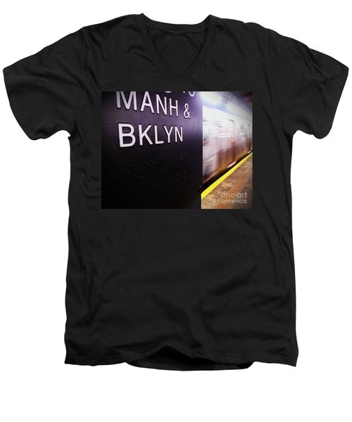 Men's V-Neck T-Shirt featuring the photograph Manhattan And Brooklyn by James Aiken