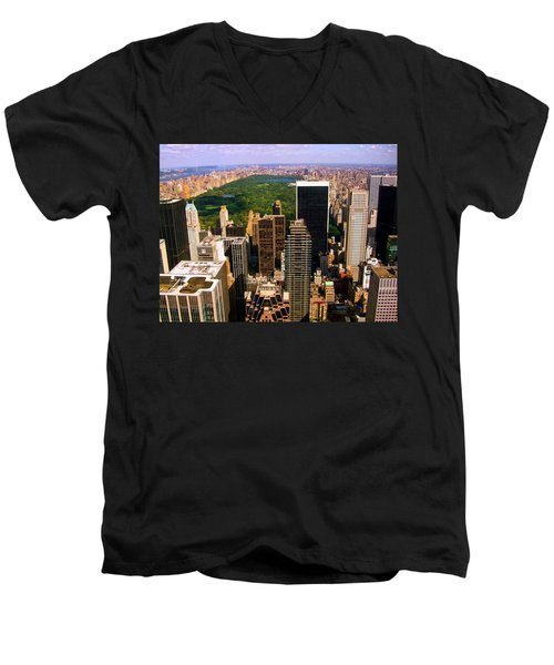 Manhattan And Central Park Men's V-Neck T-Shirt