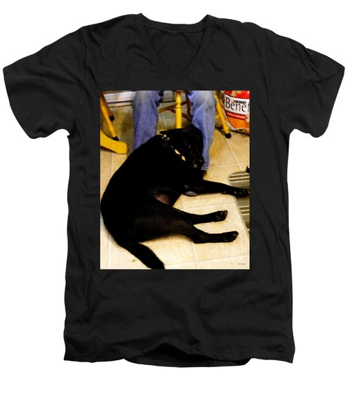 Men's V-Neck T-Shirt featuring the photograph Man's Best Friend by Barbara Griffin