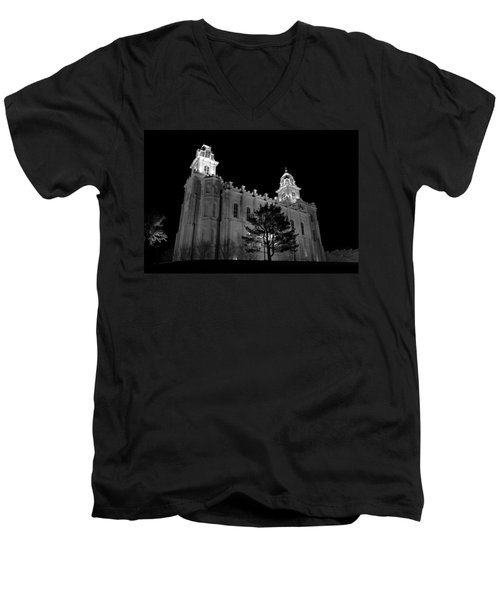 Manti Temple Black And White Men's V-Neck T-Shirt by David Andersen
