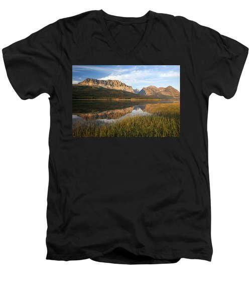 Men's V-Neck T-Shirt featuring the photograph Many Glacier Reflections by Jack Bell