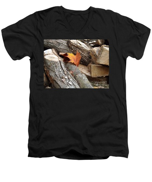 Maple Leaf In Wood Pile Men's V-Neck T-Shirt