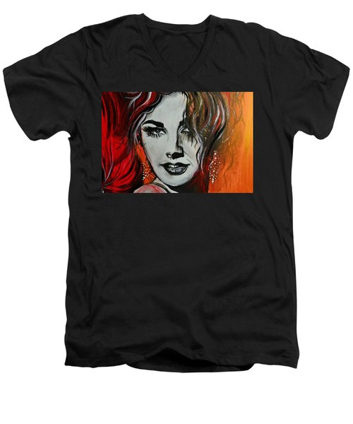 Men's V-Neck T-Shirt featuring the painting Mara by Sandro Ramani