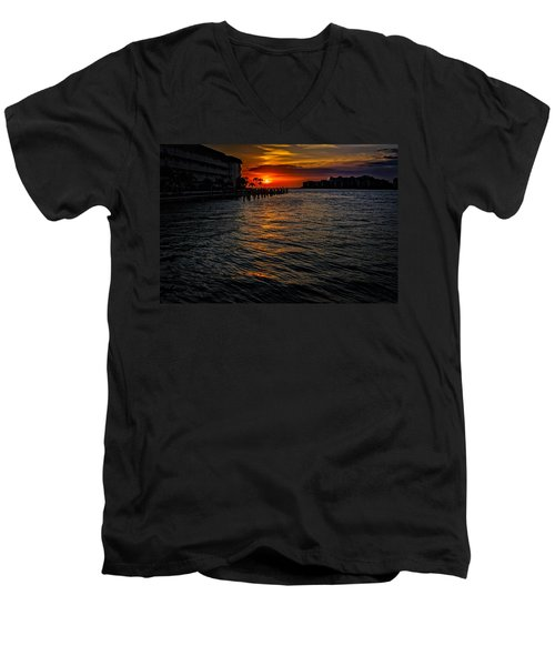 Men's V-Neck T-Shirt featuring the photograph Marco Island Sunset 43 by Mark Myhaver