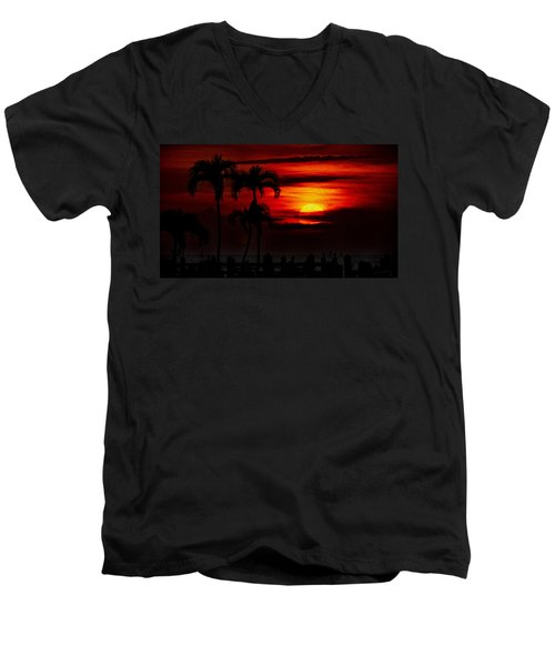 Men's V-Neck T-Shirt featuring the photograph Marco Island Sunset 59 by Mark Myhaver