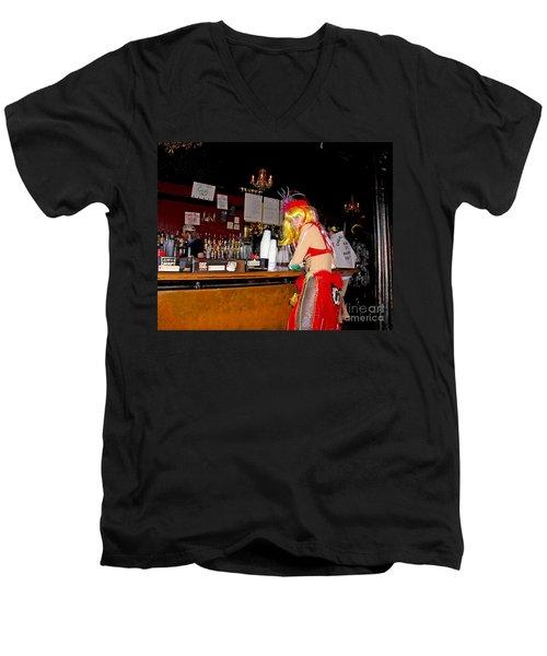 Men's V-Neck T-Shirt featuring the photograph Mardi Gras Bar French Quarter by Luana K Perez