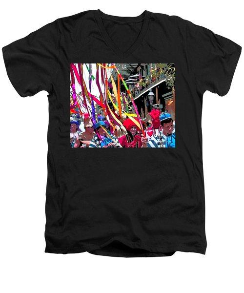 Mardi Gras Marching Parade Men's V-Neck T-Shirt