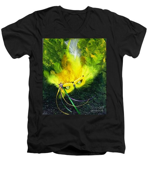 Men's V-Neck T-Shirt featuring the painting Mardi Gras On Green by Alys Caviness-Gober